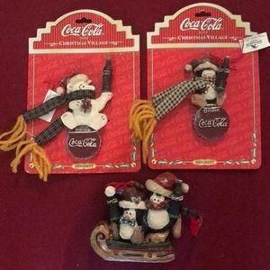 3 Coca-Cola Vintage Coke Christmas ornaments